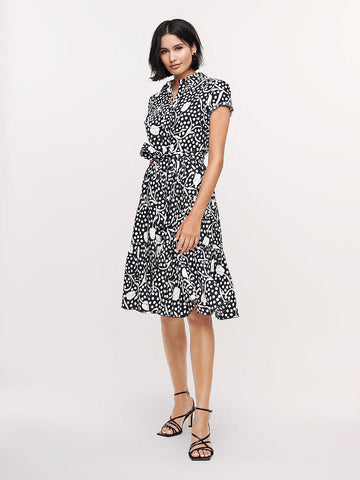 Zaria Cotton-poplin Dress in Tulip Garden Navy
