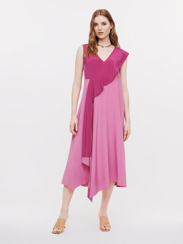 Yuna Silk Crepe De Chine Asymmetrical Dress in Mallow/Rose