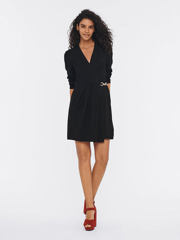 Christel Crepe Mini Wrap Dress in Black