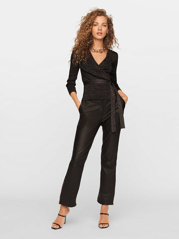 Bonnie Metallic-merino Wrap Top in Black/Silver