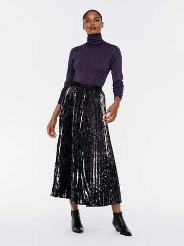 Brett Pleated Lucido Velvet Maxi Skirt in Snow Leopard Simple/Black
