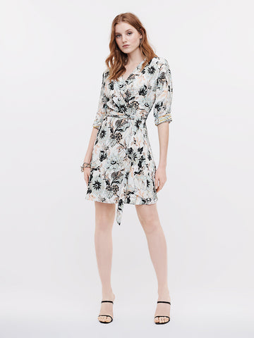 Sheena Crepe Wrap Dress in Astrantia Tulip Shell