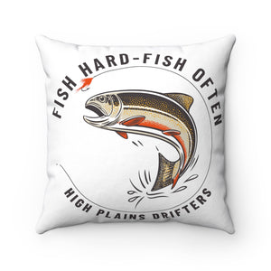 "Open image in slideshow, HPD ""Fish Hard-Fish Often""  Square Pillow"