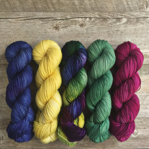 May flowers handdyed yarn Semisolid coordinating coloras