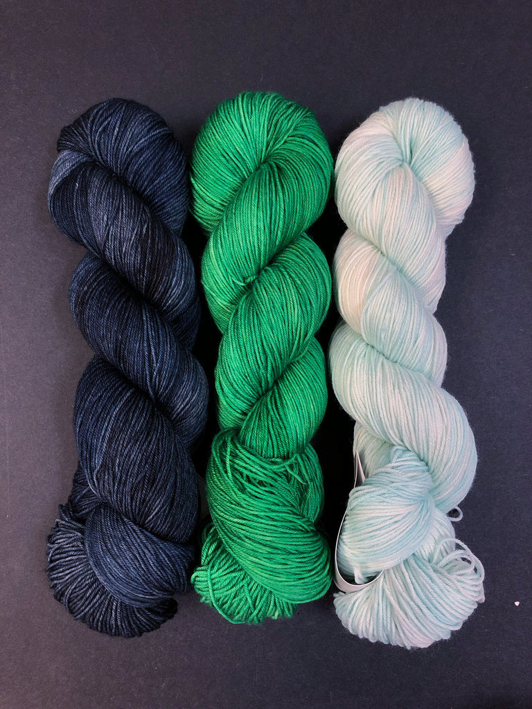 Three Color Yarn Kits - Navy/Green