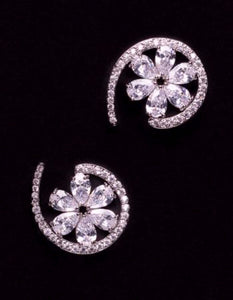 Paris Silver Floral Earrings