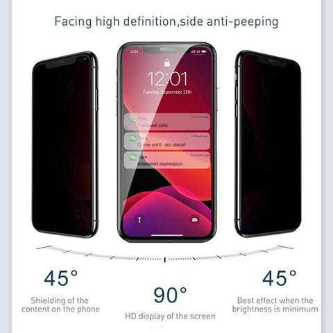 Screen Protector Tempered Glass For iPhone 11 Pro Max 2pcs 0.3mm Anti Peeping Protective Cover