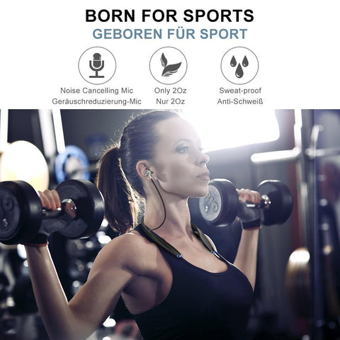Image of New Bluetooth Ultra Lightweight & Slim Wireless Neckband Sport Magnetic Earbuds