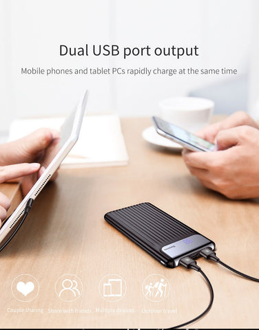 10000mAh LCD Quick Charge 3.0 Dual USB Power Bank For iPhone X 8 7 6 Samsung S9 S8