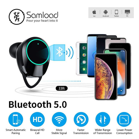 Image of New True Wireless Earbuds Bluetooth 5.0 Earphones Touch Control TWS Headset IPX7 Waterproof Earphone With Charging Box