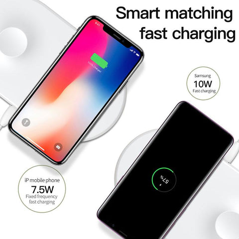 2 in 1 Qi Wireless Fast Charger Pad For Apple Watch 4/3/2/1 & iPhone 8 Xs Max Samsung S9