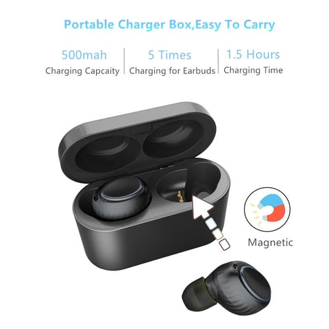 Image of New Bluetooth 5.0 True Wireless Sweatproof Sport Earbuds With Portable Charging Case For iPhone Android