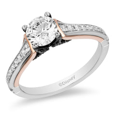 Enchanted Disney Fine Jewelry 14K White Gold, Rose Gold 1 CTTW Maleficent Bridal Ring