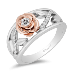 Enchanted Disney Fine Jewelry Sterling Silver and 10K Rose Gold 1/5 CTTW Belle Rose Ring
