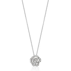 Enchanted Disney Fine Jewelry Sterling Silver 1/6CTTW Belle Rose Necklace
