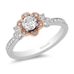 Enchanted Disney Fine Jewelry 14K White Gold and Rose Gold 3/4 CTTW Diamond Belle Ring
