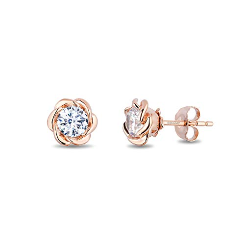 enchanted_disney-belle_solitaire_earrings-14k_pink_gold_1/2CTTW_1
