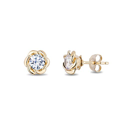 enchanted_disney-belle_solitaire_earrings-14k_yellow_gold_1/2CTTW_1