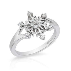 Enchanted Disney Fine Jewelry Sterling Silver 1/6Cttw Elsa Snowflake Ring