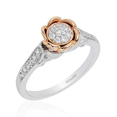 Enchanted Disney Fine Jewelry 14K White And Rose Gold With 1/4Cttw Diamond Belle Rose Fashion Ring