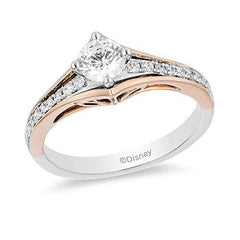 Enchanted Disney Fine Jewelry 14k White & Rose Gold with 5/8 CTTW Diamond Aurora Engagement Ring