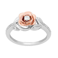 Enchanted Disney Fine Jewelry 10K White Gold and Rose Gold 1/5Cttw Belle Rose Ring