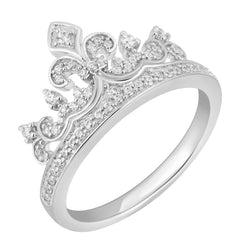 Enchanted Disney Fine Jewelry Sterling Silver 1/4Cttw Majestic Princess Crown Ring