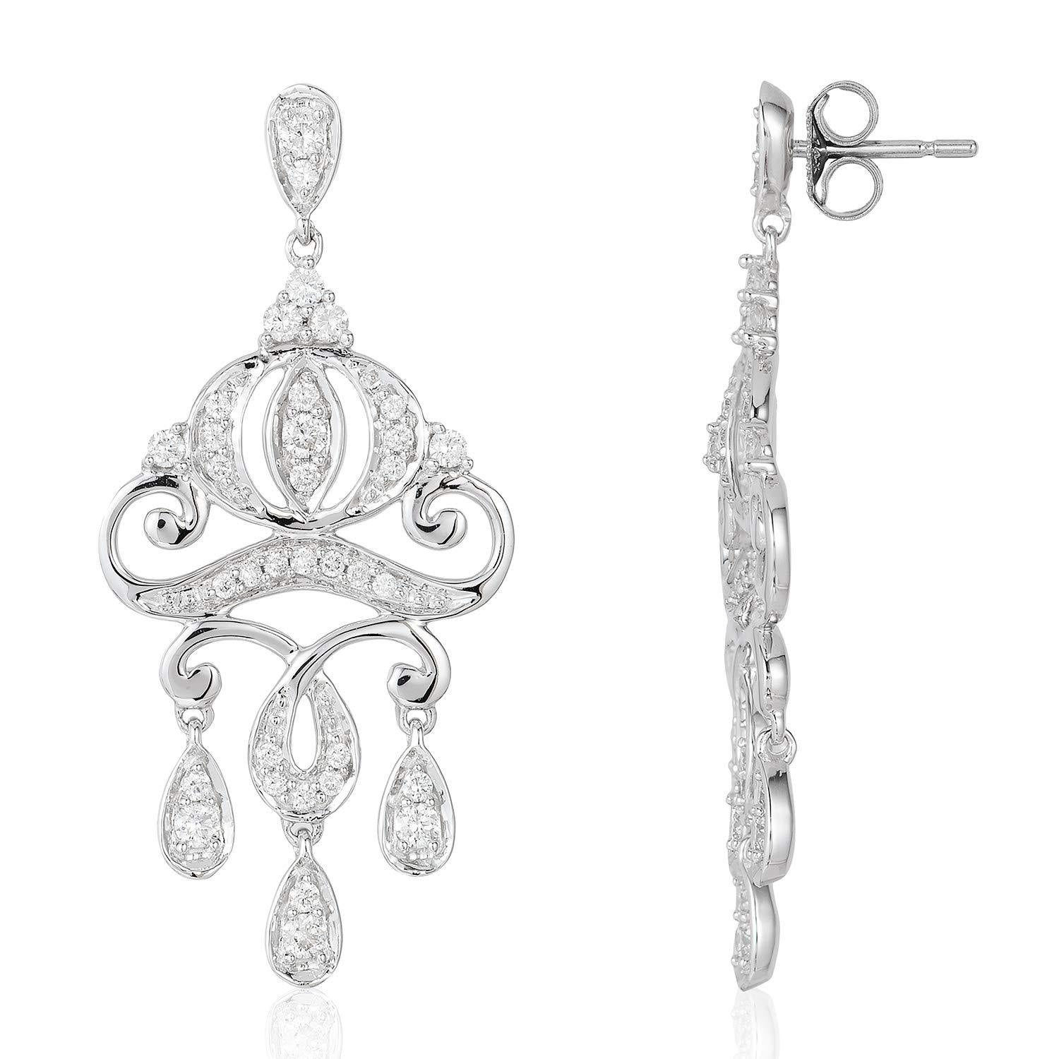 enchanted_disney-cinderella_carriage_earrings-14k_white_gold_1/2CTTW_1