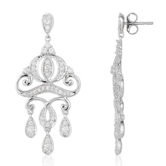 Enchanted Disney Fine Jewelry 14K White Gold 1/2 CTTW Cinderella Carriage Earrings