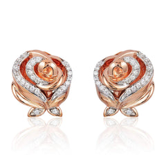 Enchanted Disney Fine Jewelry 10K Rose Gold 1/8 CTTW Belle Earrings