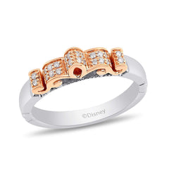 Enchanted Disney Fine Jewelry Sterling Silver and 10K Rose Gold 1/8Cttw Disney Majestic Princess Ring
