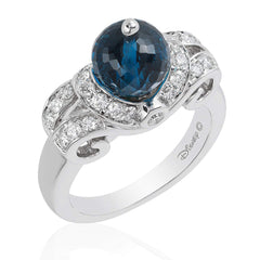 Enchanted Disney Fine Jewelry 14K White Gold 1/2 Cttw London Blue Topaz Cinderella Bridal Ring