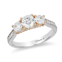 Enchanted Disney Fine Jewelry 14K White and Yellow Gold 1 1/2Cttw Majestic Princess Bridal Ring