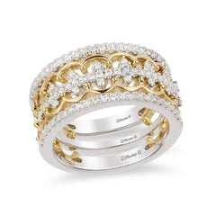 Enchanted Disney Fine Jewelry 14K White and Yellow Gold 1/2 Cttw Majestic Princess Tiara Ring