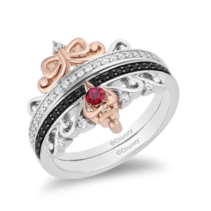 enchanted_disney-evil-queen-white_diamond_duo_ring_set-sterling_silver_and_rose_gold_1/4CTTW