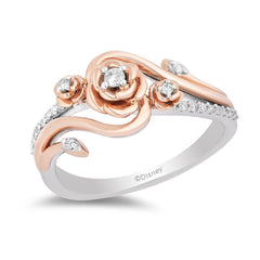 Enchanted Disney Fine Jewelry 14K Rose Gold Over Sterling Silver with 1/6 Cttw Diamond Belle Rose Ring