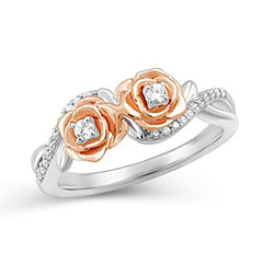 Enchanted Disney Fine Jewelry 14K Rose Gold Over Sterling Silver 1/6 Cttw Belle Rose Fashion Ring