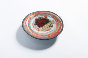 Red and Gold Colour Burst Plate, Feather