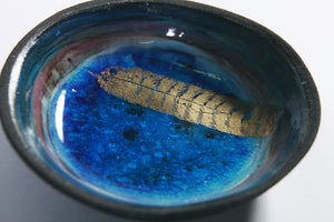 Colour Burst Bowl, Blue,Gold Feather Motif