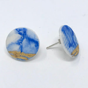 Porcelain Stud Earrings, blue, white and gold
