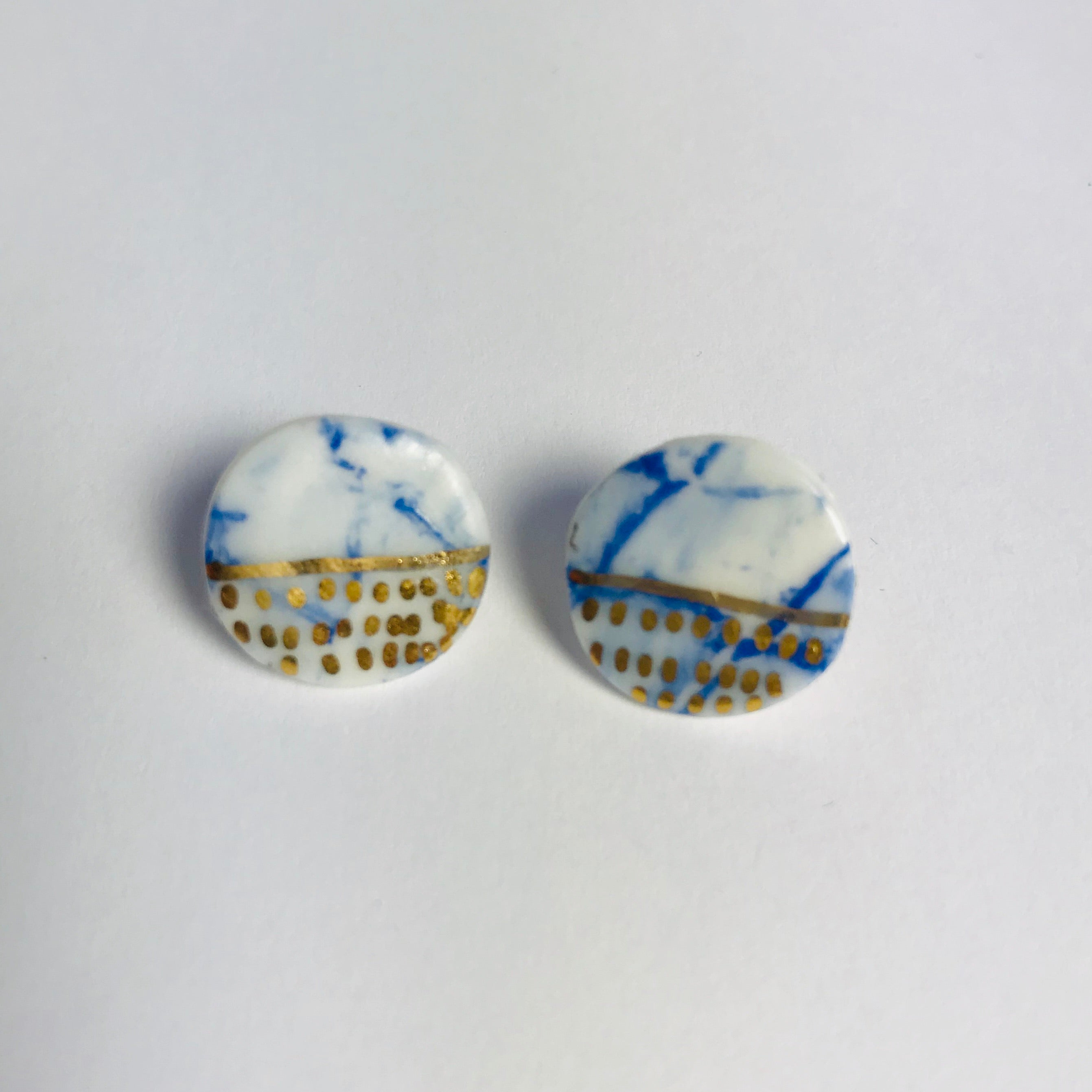 Blue, white and gold stud earrings