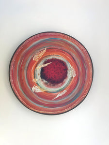 Red Colour Bursts  plate with gold leaves