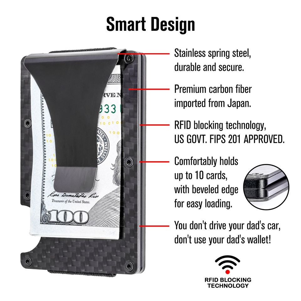 Minimalist Authentic CARBON FIBER - RFID blocker wallet