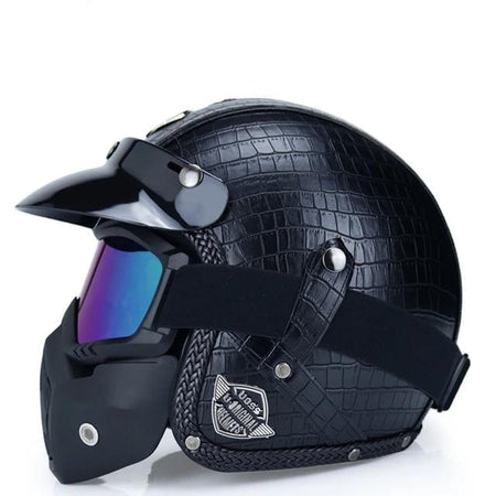 Open Face Retro Helmet + FREE Detachable Anti Fog Mask