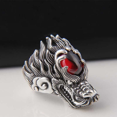 Bague Dragon Rubis (Argent) | Dragonance