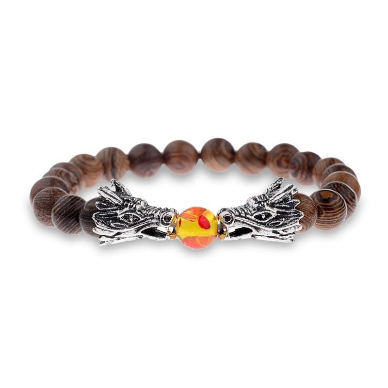 Bracelet Dragon Bois Naturel (Perles) Argent | Dragonance