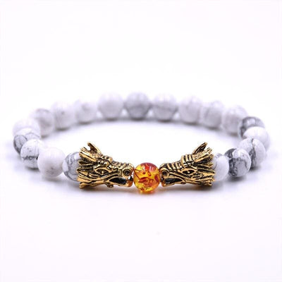 Bracelet Dragon Double Tête (Perles) Blanc | Dragonance