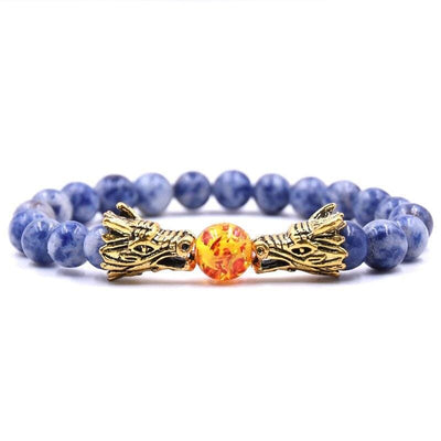 Bracelet Dragon Double Tête (Perles) Bleu | Dragonance