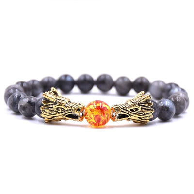 Bracelet Dragon Double Tête (Perles) Gris | Dragonance