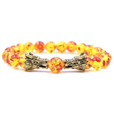 Bracelet Dragon Double Tête (Perles) Jaune | Dragonance